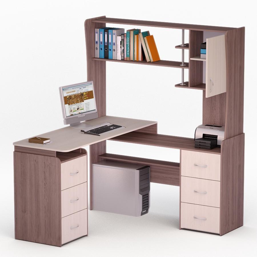 Компьютерный угловой стол Флеш-Ника ЛеД - 20 Дуб Лимберг Коимбра с надстройкой