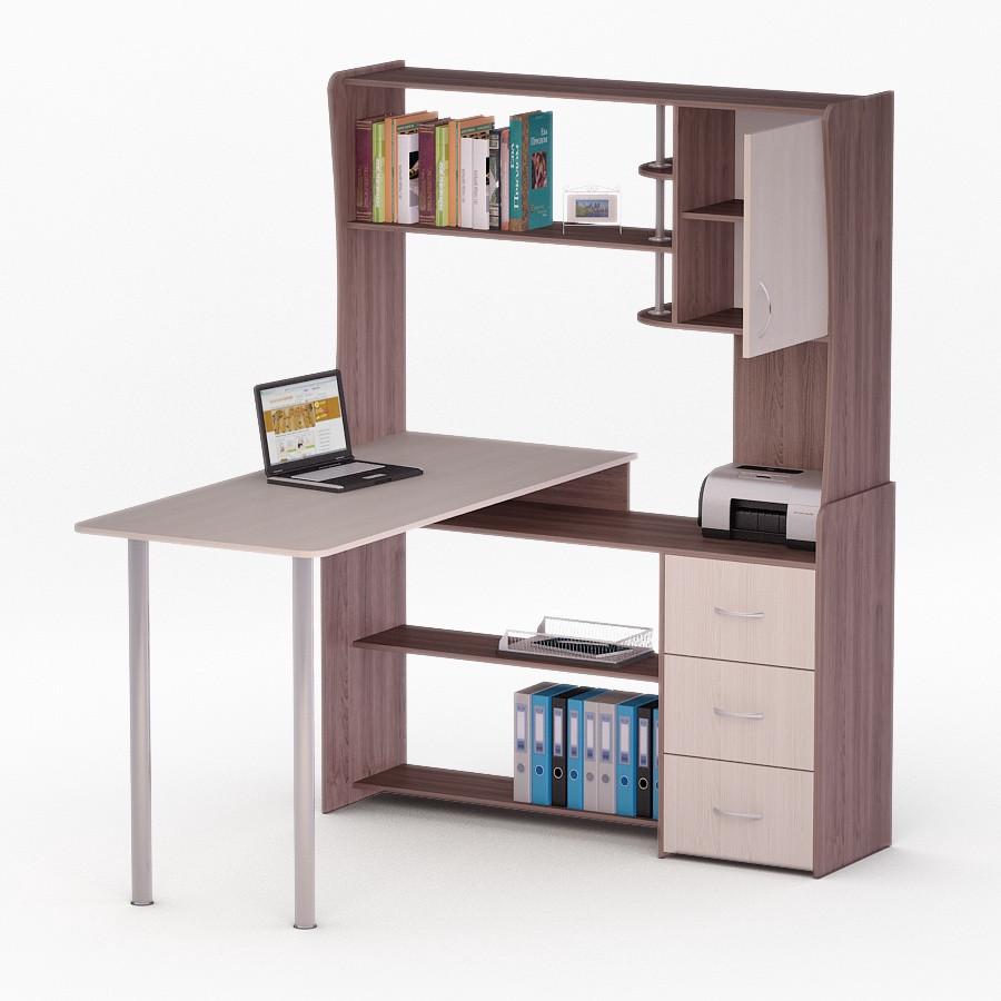 Компьютерный угловой стол Флеш-Ника ЛеД - 23 Дуб Лимберг Коимбра с надстройкой