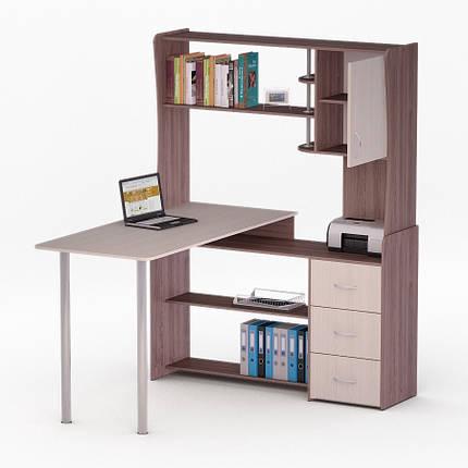 Компьютерный угловой стол Флеш-Ника ЛеД - 23 Дуб Лимберг Коимбра с надстройкой, фото 2