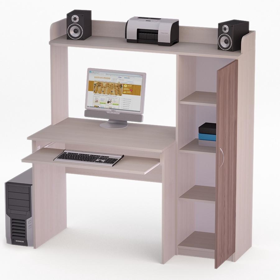 Компьютерный прямой стол Флеш-Ника ЛеД - 37 Дуб Лимберг Коимбра с надстройкой