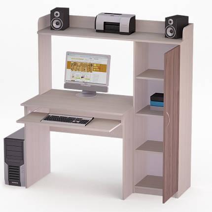 Компьютерный прямой стол Флеш-Ника ЛеД - 37 Дуб Лимберг Коимбра с надстройкой, фото 2