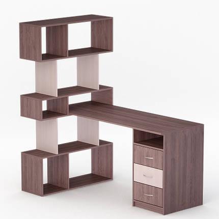 Компьютерный угловой стол Флеш-Ника ЛеД - 50 Дуб Лимберг Коимбра с надстройкой, фото 2
