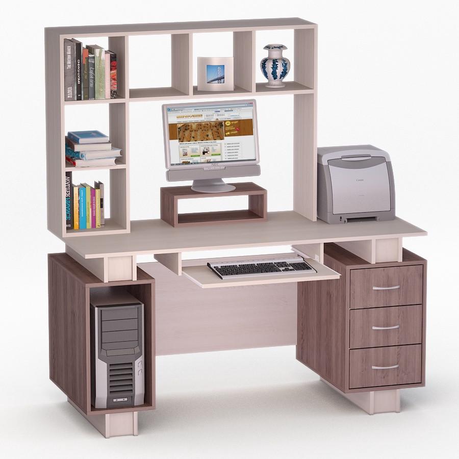 Компьютерный прямой стол Флеш-Ника ЛеД - 53 Дуб Лимберг Коимбра с надстройкой