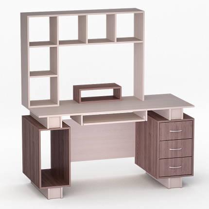 Компьютерный прямой стол Флеш-Ника ЛеД - 53 Дуб Лимберг Коимбра с надстройкой, фото 2