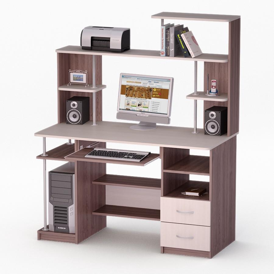 Компьютерный прямой стол Флеш-Ника ЛеД - 59 Дуб Лимберг Коимбра с надстройкой