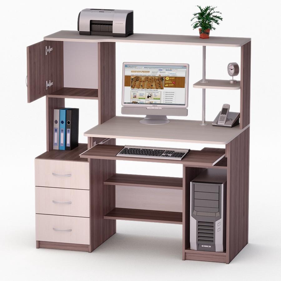 Компьютерный прямой стол Флеш-Ника ЛеД - 60 Дуб Лимберг Коимбра с надстройкой