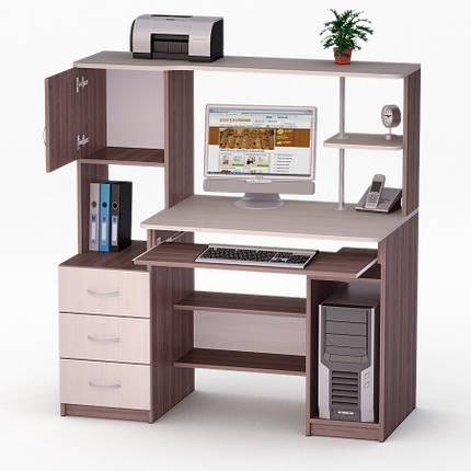 Компьютерный прямой стол Флеш-Ника ЛеД - 60 Дуб Лимберг Коимбра с надстройкой, фото 2