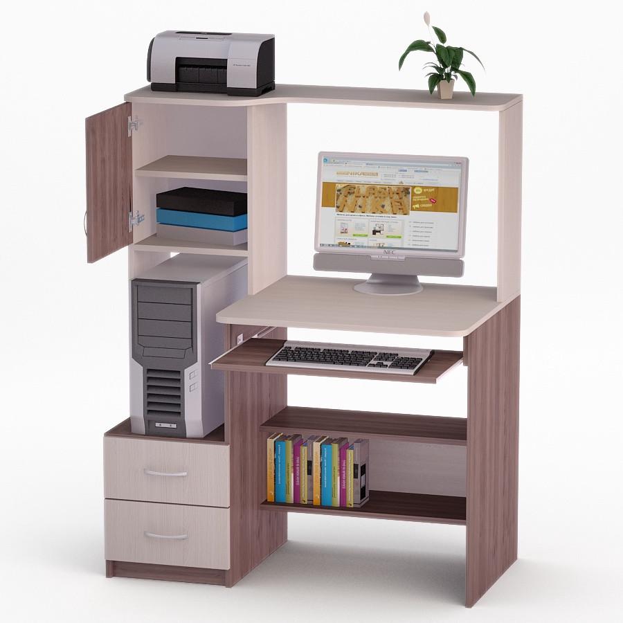 Компьютерный прямой стол Флеш-Ника ЛеД - 62 Дуб Лимберг Коимбра с надстройкой