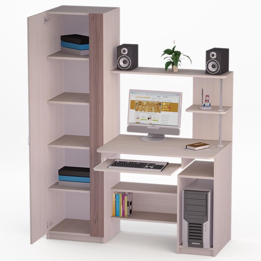 Компьютерный прямой стол Флеш-Ника ЛеД - 66 Дуб Лимберг Коимбра с надстройкой