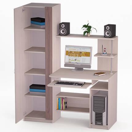 Компьютерный прямой стол Флеш-Ника ЛеД - 66 Дуб Лимберг Коимбра с надстройкой, фото 2