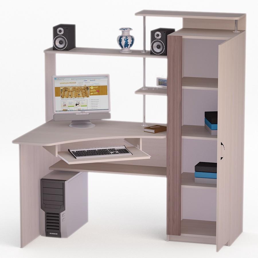 Компьютерный угловой стол Флеш-Ника ЛеД - 67 Дуб Лимберг Коимбра с надстройкой