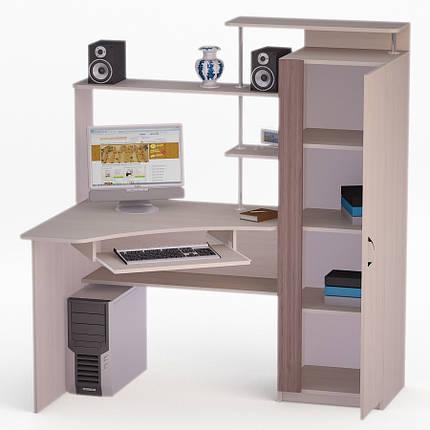 Компьютерный угловой стол Флеш-Ника ЛеД - 67 Дуб Лимберг Коимбра с надстройкой, фото 2