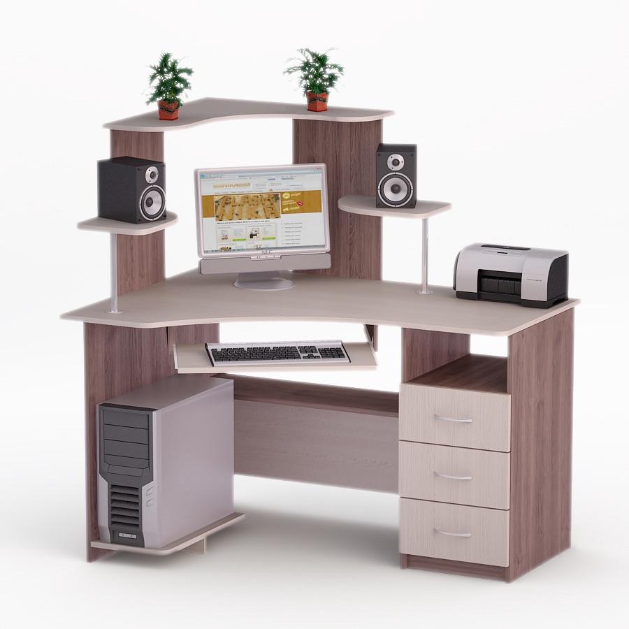 Компьютерный угловой стол Флеш-Ника ЛеД - 70 Дуб Лимберг Коимбра с надстройкой