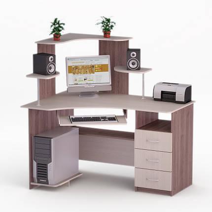 Компьютерный угловой стол Флеш-Ника ЛеД - 70 Дуб Лимберг Коимбра с надстройкой, фото 2