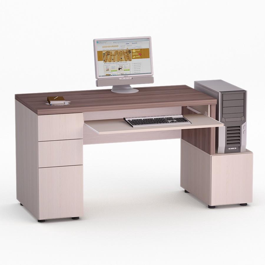 Компьютерный прямой стол Флеш-Ника Мокос 10 Дуб Лимберг Коимбра