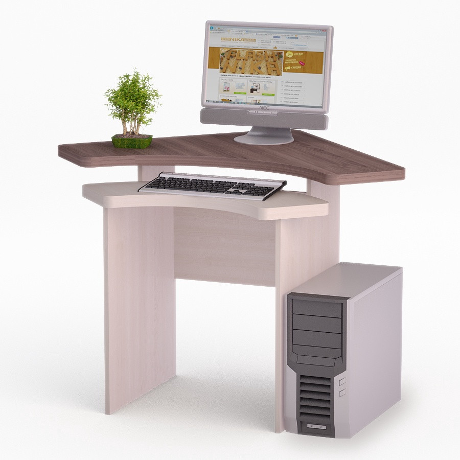 Компьютерный угловой стол Флеш-Ника Мокос 19 Дуб Лимберг Коимбра