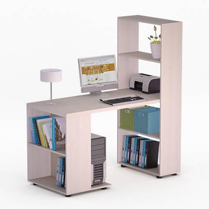 Компьютерный угловой стол Флеш-Ника Мокос 21 Дуб Лимберг Коимбра с надстройкой, фото 2
