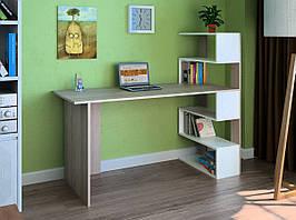 Комп'ютерний прямий стіл Флеш-Ніка LEGA - 1 Дуб Лимберг Коїмбра з надбудовою