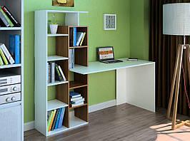 Комп'ютерний прямий стіл Флеш-Ніка LEGA - 14 Дуб Лимберг Коїмбра з надбудовою