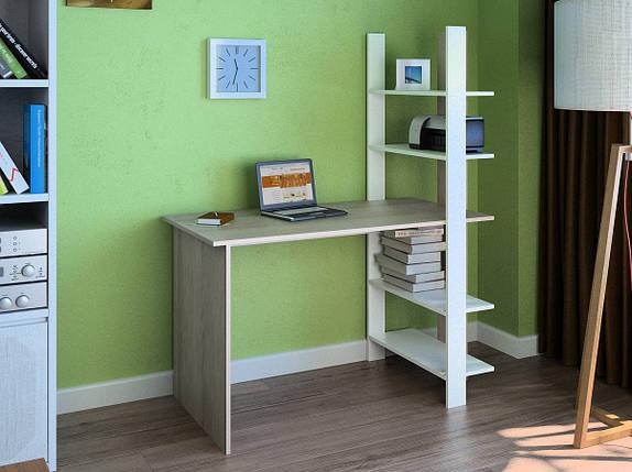 Компьютерный прямой стол Флеш-Ника LEGA - 15 Дуб Лимберг Коимбра с надстройкой, фото 2