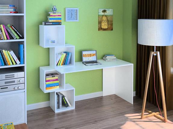 Компьютерный прямой стол Флеш-Ника LEGA - 55 Дуб Лимберг Коимбра с надстройкой, фото 2