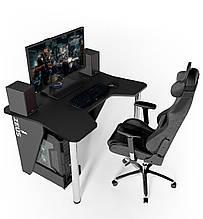 Геймерский игровой компьютерный прямой стол ZEUS™ / ЗЕУС™  IGROK / ИГРОК 3L с LED подсветкой