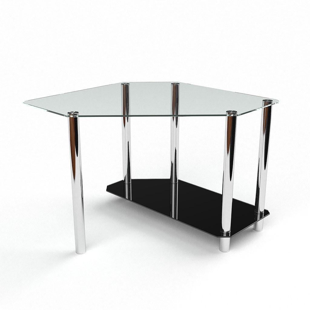 Стеклянный компьютерный угловой стол БЦ Стол Каспиан