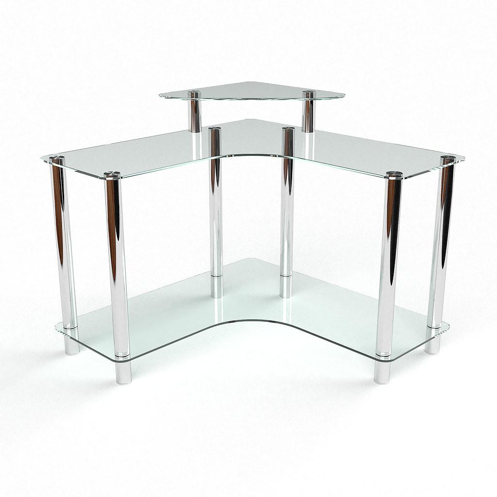Стеклянный компьютерный угловой стол БЦ Стол Вега