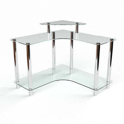 Стеклянный компьютерный угловой стол БЦ Стол Вега, фото 2