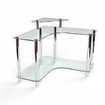 Стеклянный компьютерный угловой стол БЦ Стол Вега, фото 3