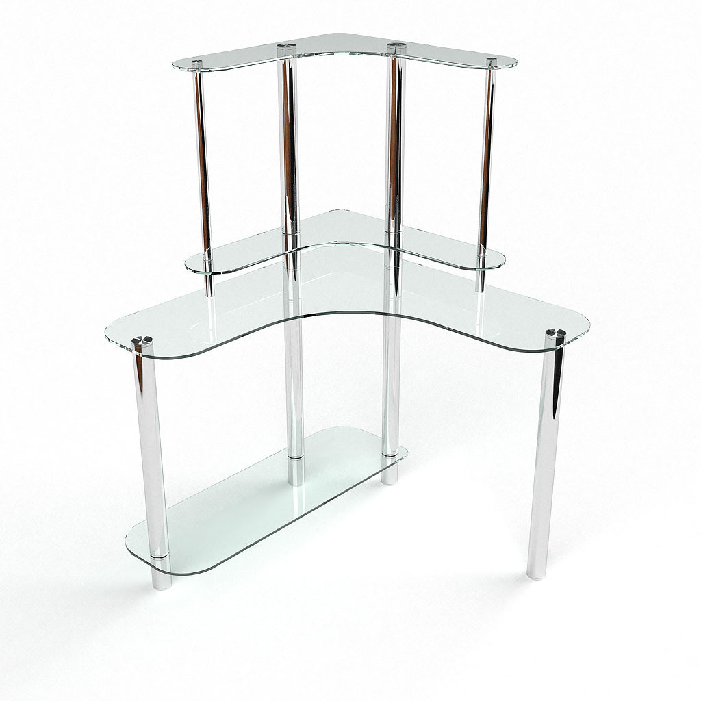 Стеклянный компьютерный угловой стол БЦ Стол Диона