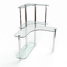 Стеклянный компьютерный угловой стол БЦ Стол Диона, фото 3