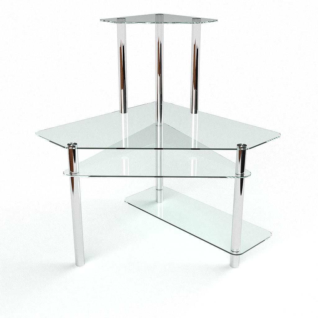 Стеклянный компьютерный угловой стол БЦ Стол Фемида