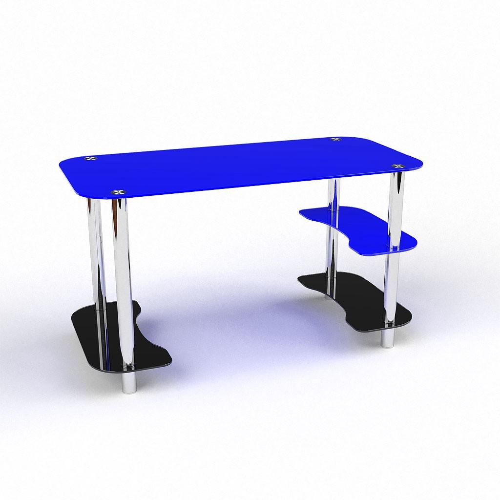 Стеклянный компьютерный прямой стол БЦ Стол Антей