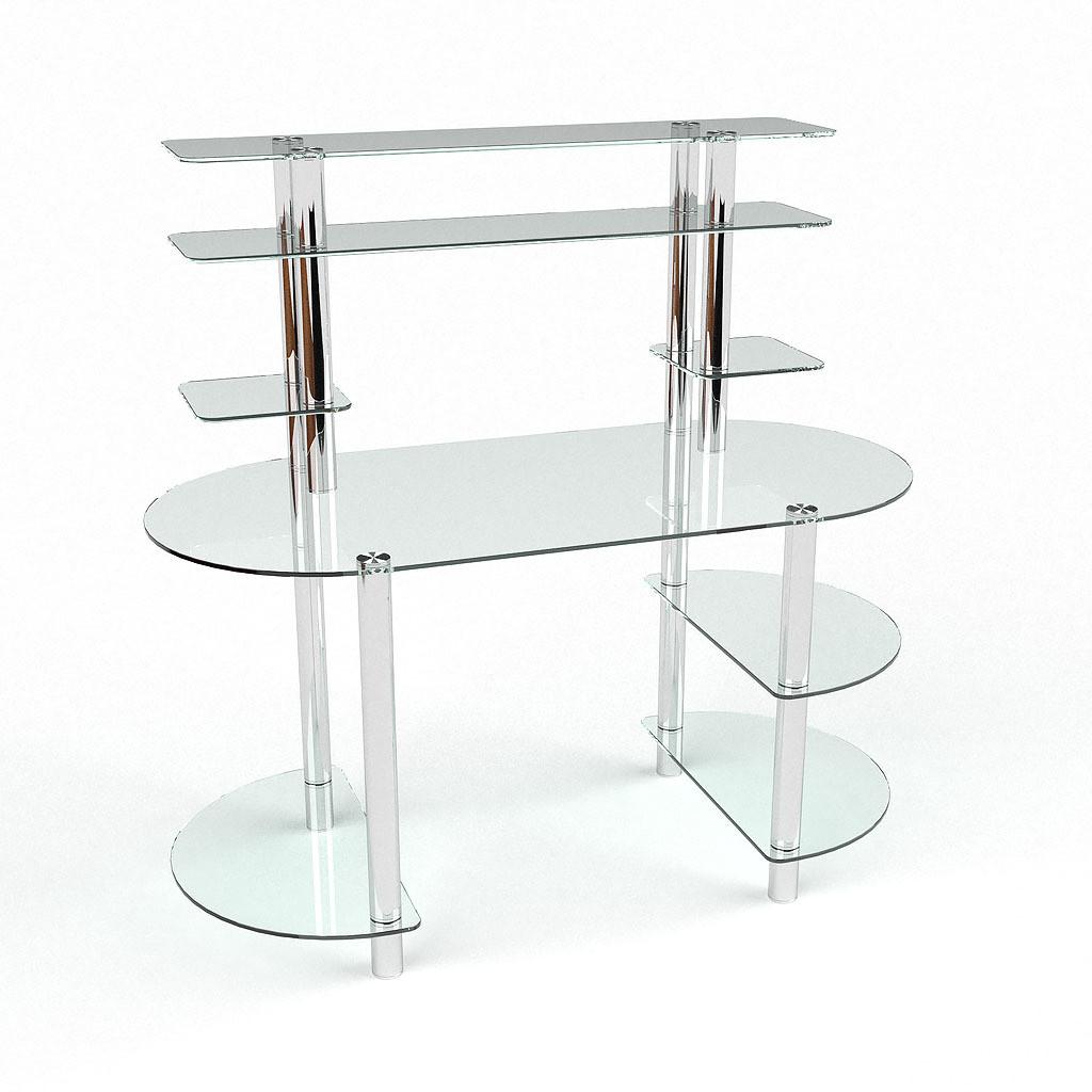 Стеклянный компьютерный прямой стол с надстройкой БЦ Стол Аванти