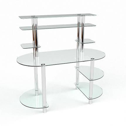 Стеклянный компьютерный прямой стол с надстройкой БЦ Стол Аванти, фото 2