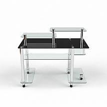 Стеклянный компьютерный прямой стол БЦ Стол Альфа, фото 2