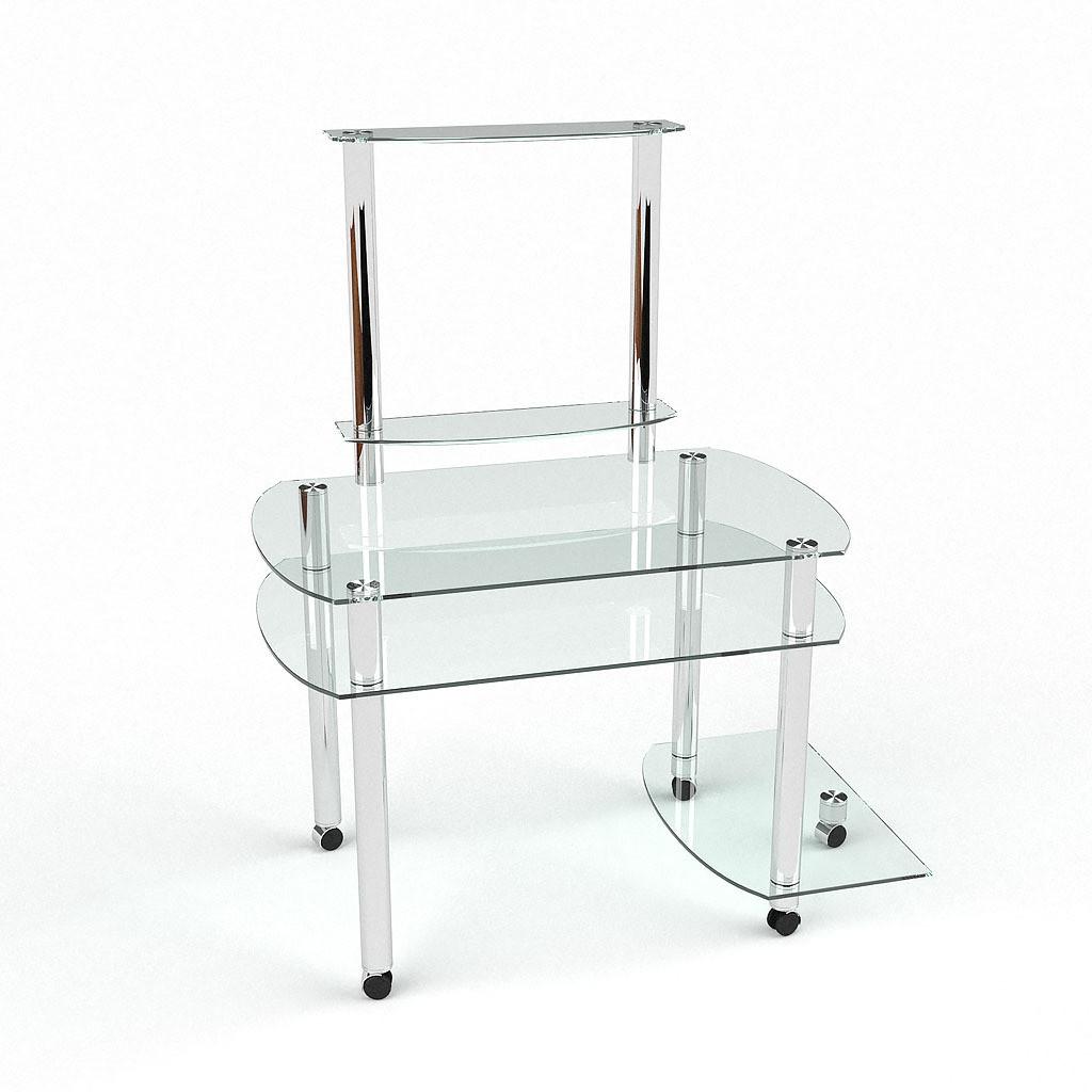 Стеклянный компьютерный прямой стол с надстройкой БЦ Стол Ирида