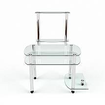 Стеклянный компьютерный прямой стол с надстройкой БЦ Стол Ирида, фото 2