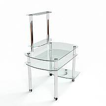 Стеклянный компьютерный прямой стол с надстройкой БЦ Стол Ирида, фото 3
