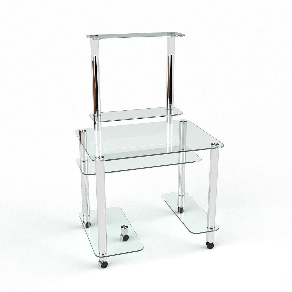 Стеклянный компьютерный прямой стол БЦ Стол Люкс