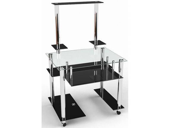 Стеклянный компьютерный прямой стол с надстройкой БЦ Стол Фигаро, фото 2
