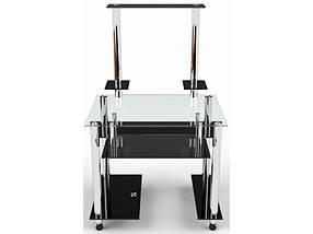 Стеклянный компьютерный прямой стол с надстройкой БЦ Стол Фигаро, фото 3
