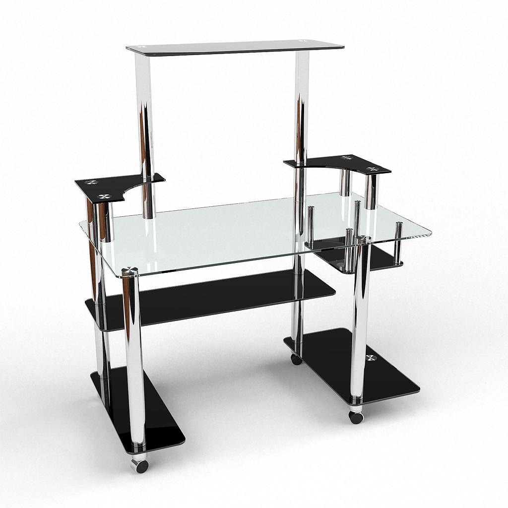 Стеклянный компьютерный прямой стол с надстройкой БЦ Стол Фокус
