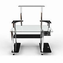 Стеклянный компьютерный прямой стол с надстройкой БЦ Стол Фокус, фото 2