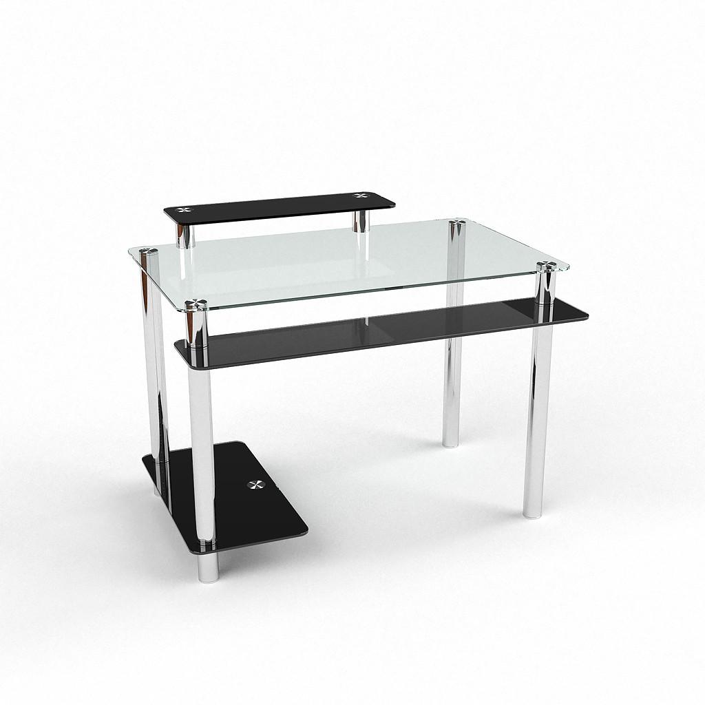 Стеклянный компьютерный прямой стол БЦ Стол Фобос