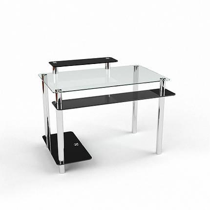 Стеклянный компьютерный прямой стол БЦ Стол Фобос, фото 2