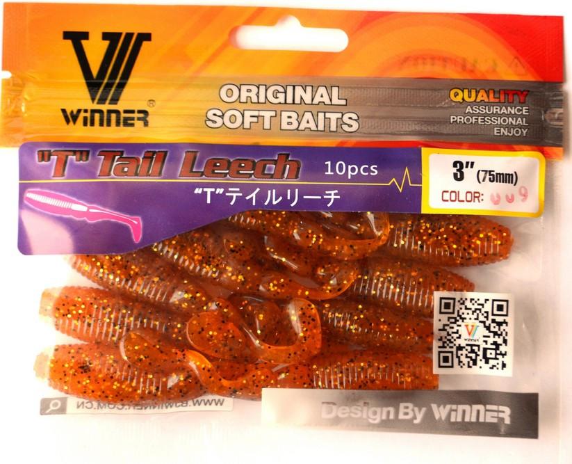 Съедобка Пиявка (Leech), силиконовая приманка, TBR-019, цвет 009, 10шт.