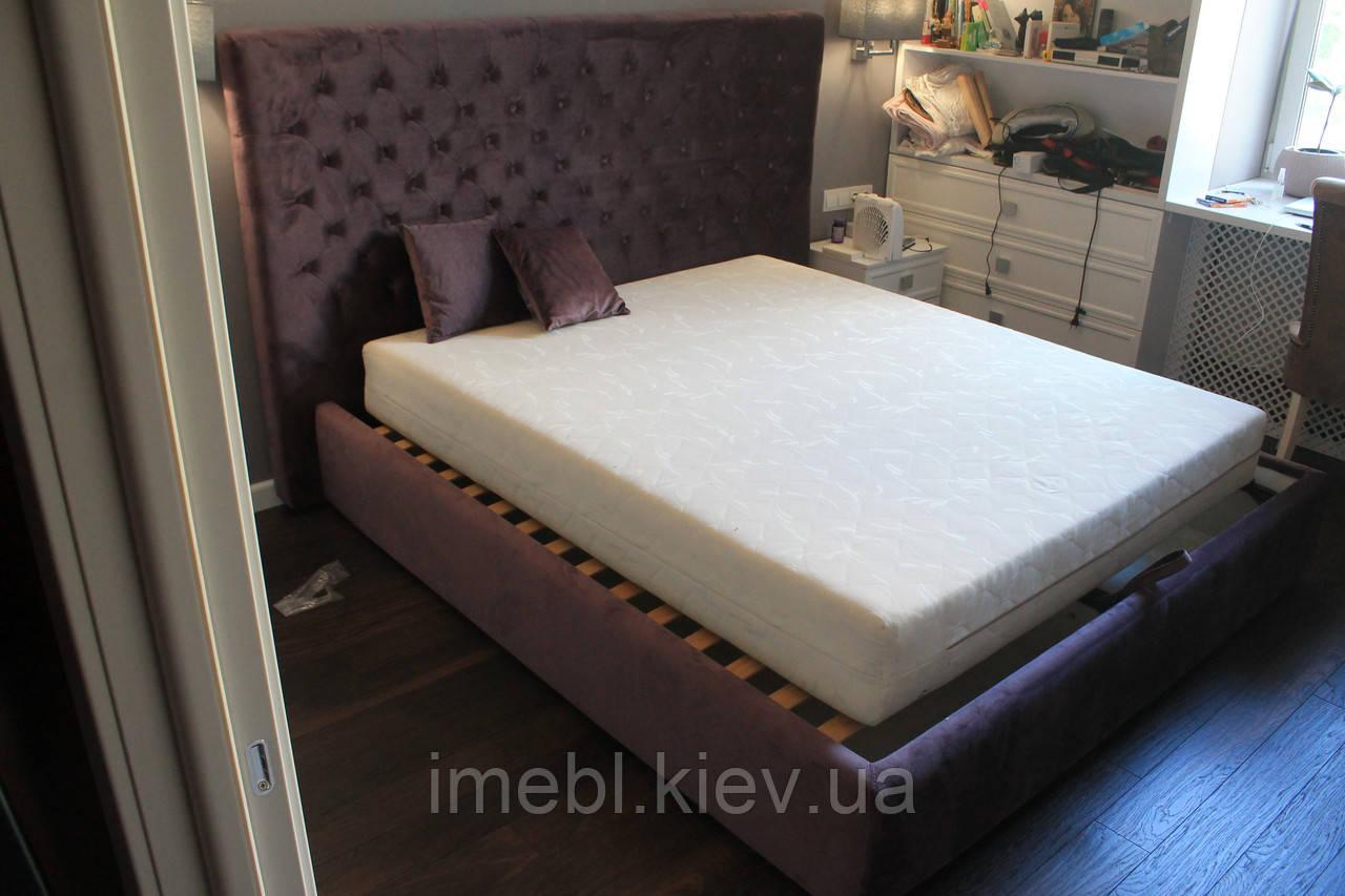 Мягкая кровать с большим ящиком (Фиолетовая)