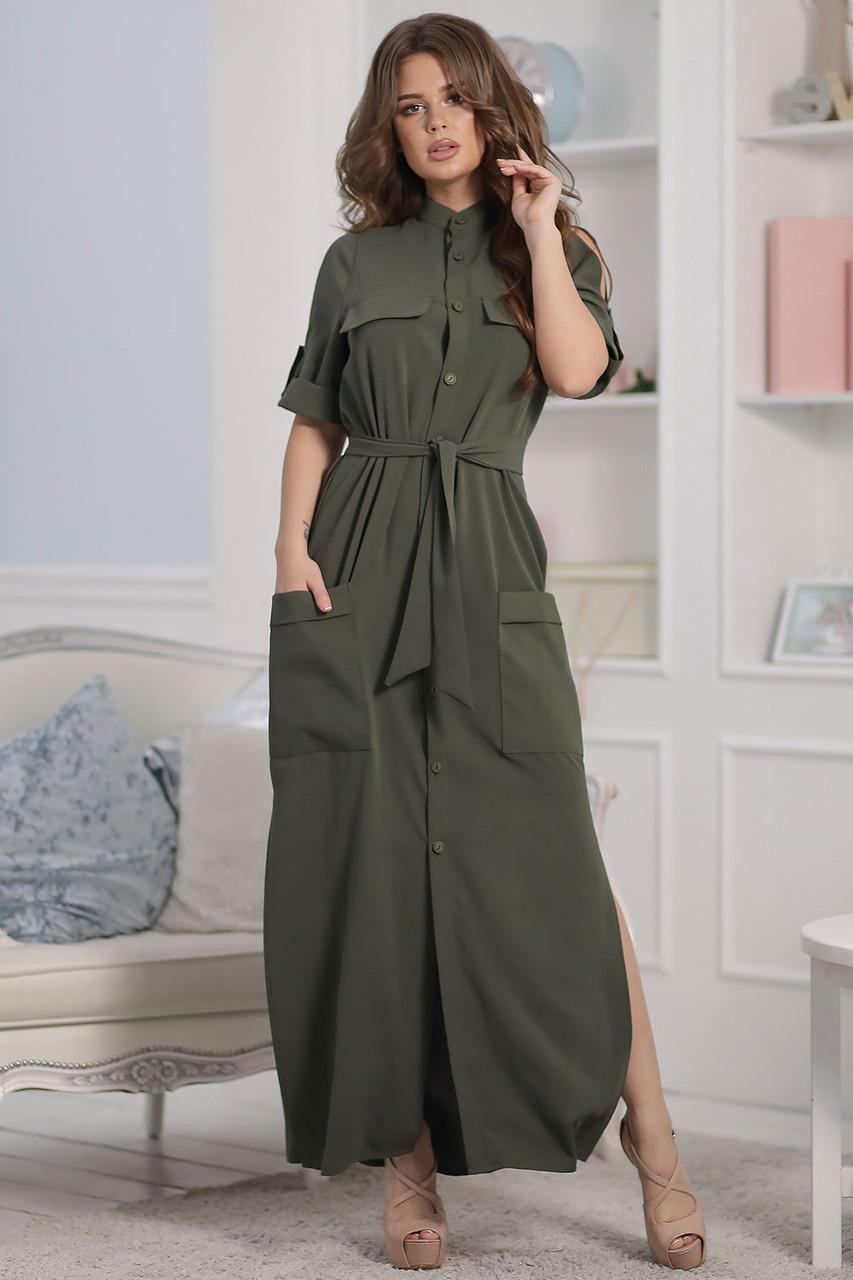 Каролина Платье длинное цвета хаки